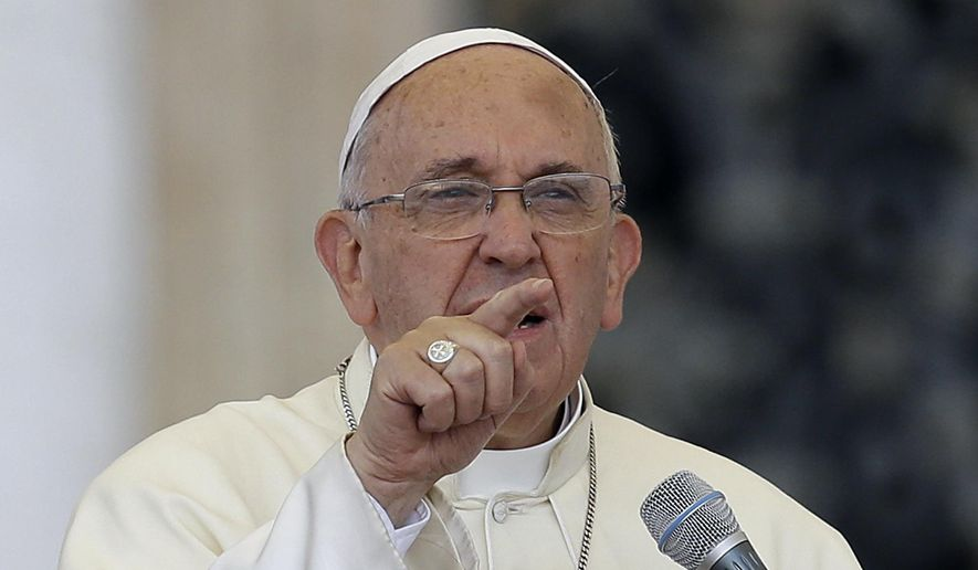 Pope Francis delivers his message on the occasion of an audience with participants of Rome's diocese convention in St. Peter's Square, at the Vatican, Sunday, June 14, 2015. (AP Photo/Gregorio Borgia)