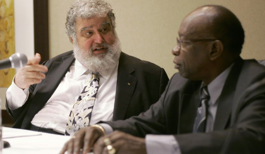 FILE - In this Jan. 28, 2008, CONCACAF General Secretary Chuck Blazer, left, and President Jack Warner chat during a news conference in Miami. Former FIFA executive committee member Blazer agreed to act undercover for U.S. prosecutors and has been cooperating since at least 2011 in the government's investigation of soccer corruption. Blazer's 19-page plea agreement from Nov. 25, 2013, was unsealed Monday, June 15, 2015, after a federal judge agreed to a request by media organizations. As part of the deal, Blazer agreed he would sign over title of his FIFA pension to satisfy payments owed to the U.S. government. (AP Photo/Wilfredo Lee, File)