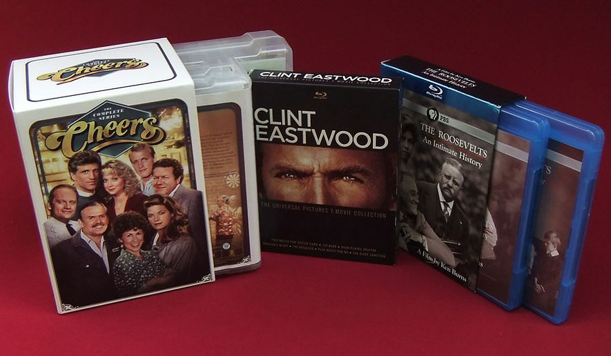 Cheers: The Complete Series, Clint Eastwood: The Universal Pictures 7-Movie Collection, and The Roosevelts: An Intimate History are some last-minute gift ideas for dad. (Photo by Joseph Szadkowski / The Washington Times)