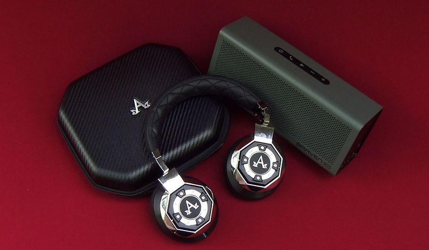A-Audio's Icon Wireless headphones and Braven 805 Bluetooth speaker (Photo by Joseph Szadkowski / The Washington TImes)