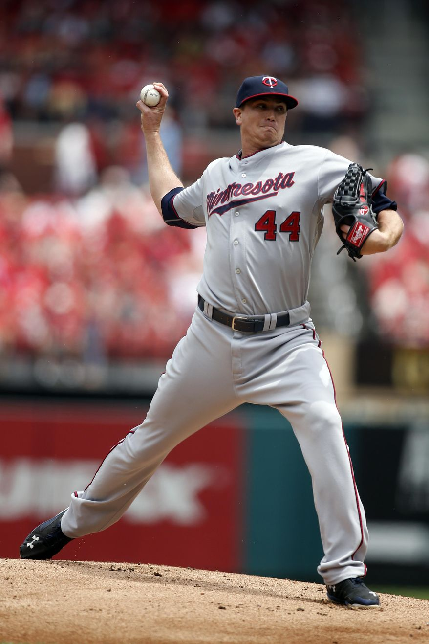 Minnesota Twins starting pitcher Kyle Gibson throws during the first inning of a baseball game against the St. Louis Cardinals Tuesday, June 16, 2015, in St. Louis. (AP Photo/Scott Kane)