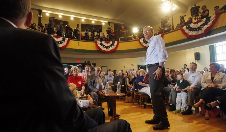 Republican presidential candidate, former Florida Gov. Jeb Bush speaks to voters at the Derry Opera House, Tuesday, June 16, 2015, in Derry, N.H. Bush is campaigning in the nation's earliest presidential primary state. (AP Photo/Jim Cole)