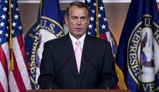 FILE - In this June 11, 2015 file photo, House Speaker John Boehner of Ohio speaks during a news conference on Capitol Hill in Washington. Boehner says he's committed to passing a major trade deal as soon as possible, but he has not figured a way out of Congress' logjam on legislation that's a priority for President Barack Obama. (AP Photo/Pablo Martinez Monsivais, File)