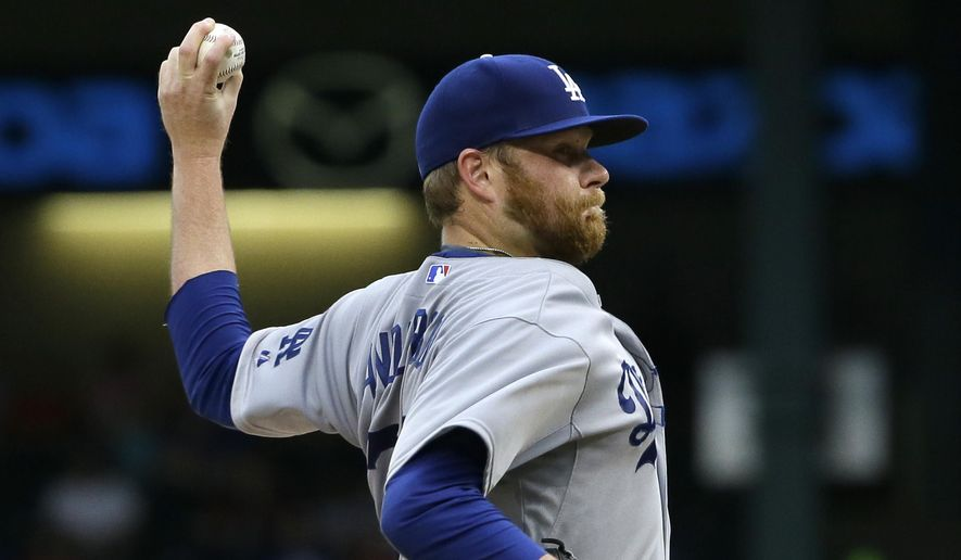 Los Angeles Dodgers starting pitcher Brett Anderson throws during the first inning of a baseball game against the Texas Rangers in Arlington, Texas, Tuesday, June 16, 2015. (AP Photo/LM Otero)
