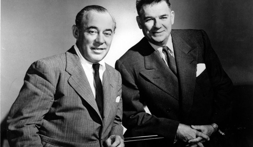 FILE - In this Dec. 2, 1956, file photo, composer Richard Rodgers, left, and lyricist Oscar Hammerstein II, pose for a photo. The location of the photograph is not known. Hammerstein's grandson has lost his bid to create a museum and educational theater honoring the Broadway lyricist. Doylestown Township, Pa.'s zoning board voted Monday, June 15, 2015, to deny variances that Will Hammerstein needed to build the project at his grandfather's former Pennsylvania farm. The plan included construction of a 400-seat theater. (AP Photo/File)