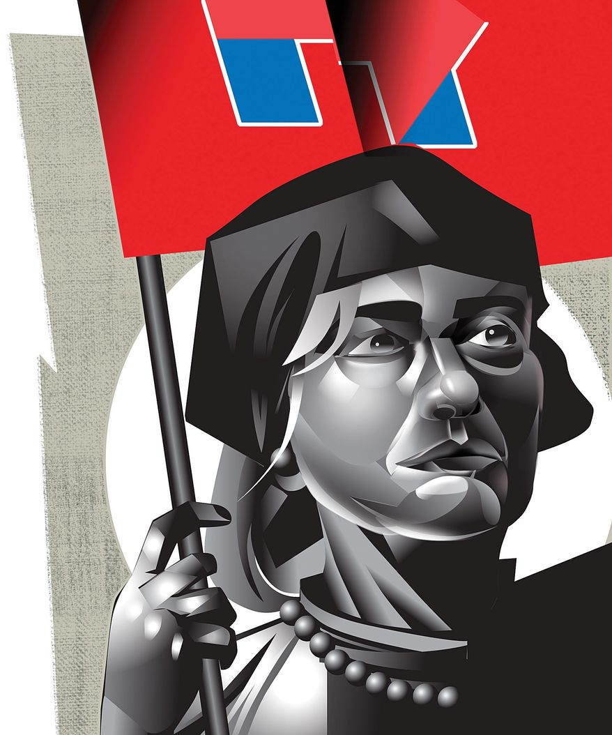 Illustration on Hillary's apparently socialist positioning in her campaign by Linas Garsys/The Washington Times