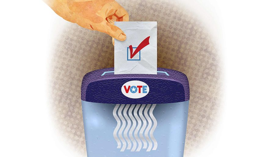 Voter Fraud Technique Illustration by Greg Groesch/The Washington Times
