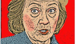 Illustration on threats to Hillary's nomination hopes by Alexander Hunter/The Washington Times