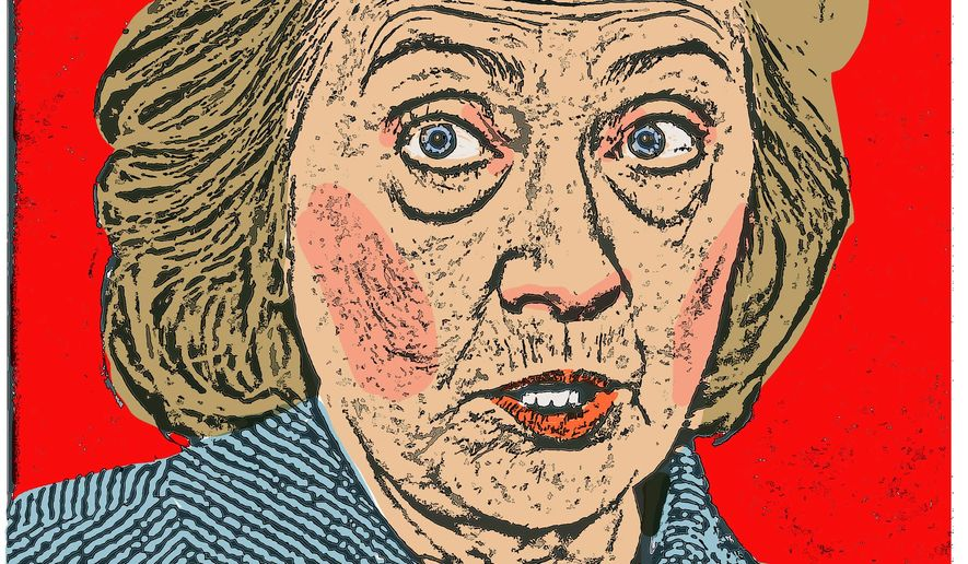 Illustration on threats to Hillary's nomination hopes by Alexander Hunter/The Washington Times