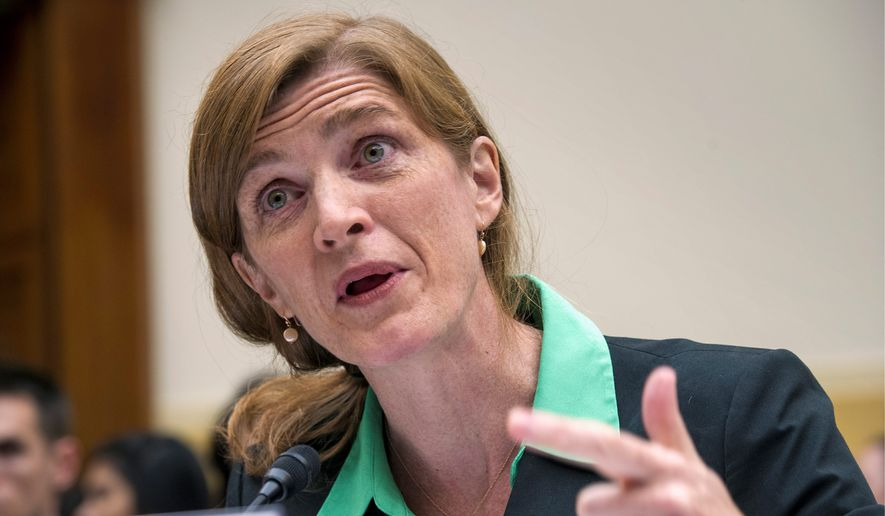 U.S. United Nations Ambassador Samantha Power Tuesday faced intense grilling from lawmakers over Iran. Ms. Powers denied that the U.S. and its allies ignored sanction violations by Iran in order to preserve ongoing nuclear talks. (Associated Press) **FILE**