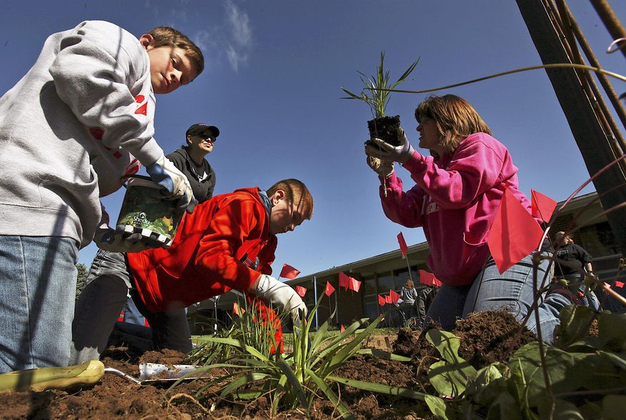 In this May 12, 2015 photo, Sixth-graders Matthew Sinele, left, and Milo Koechle, center, plant flowers in a butterfly garden with the assistance of Matthew's mom, volunteer Angee Sinele, right, and fellow volunteer Sheila Poppe outside Sts. Peter and Paul School in Nauvoo, Ill. The school was one of 10 nationwide to get a grant to fund a monarch butterfly rescue project. (Phil Carlson/The Quincy Herald-Whig via AP)