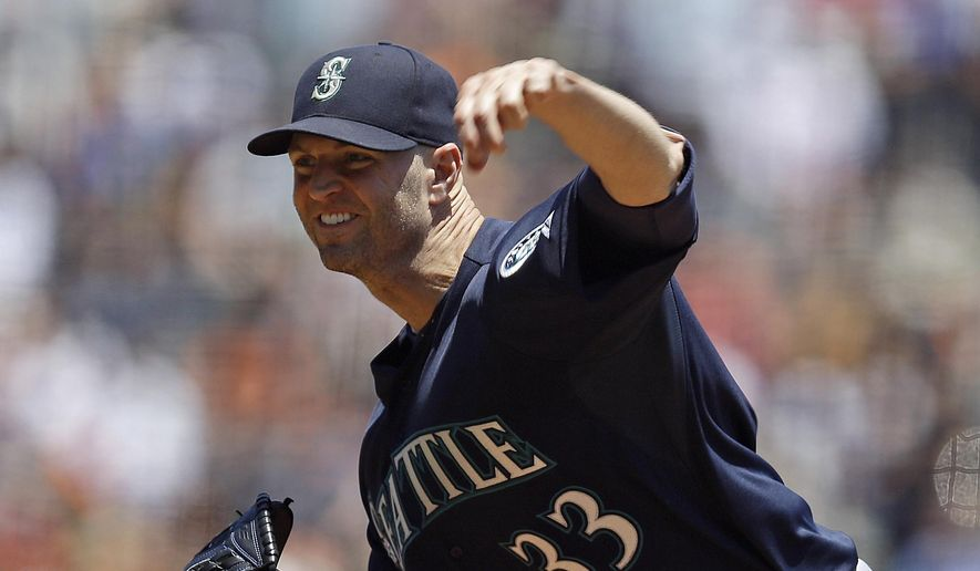 Seattle Mariners pitcher J.A. Happ works against the San Francisco Giants in the first inning of a baseball game, Tuesday, June 16, 2015, in San Francisco. (AP Photo/Ben Margot)