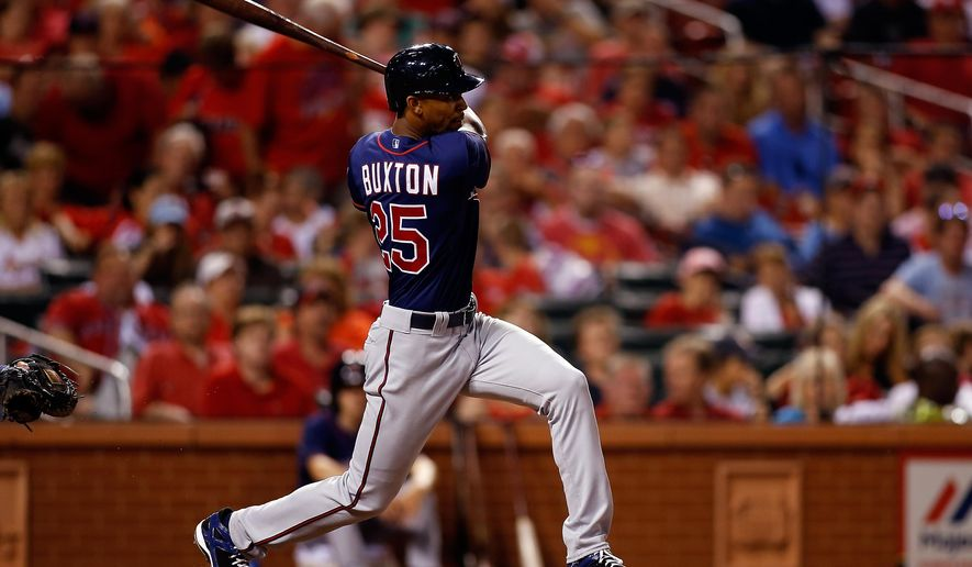 Minnesota Twins' Byron Buxton follows through on a triple during the eighth inning of a baseball game against the St. Louis Cardinals Monday, June 15, 2015, in St. Louis. (AP Photo/Scott Kane)