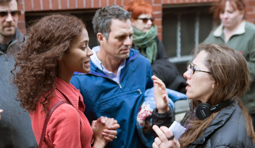 """This photo provided by Sony Pictures Classics shows, Zoe Saldana, left, Mark Ruffalo, center, and director Maya Forbes appear on the set of """"Infinitely Polar Bear."""" (Seacia Pavao/Sony Pictures Classics via AP)"""