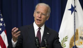Vice President Joe Biden speaks at the White House Clean Energy Investment Summit in the South Court Auditorium on the White House campus, on Tuesday, June 16, 2015, in Washington. (AP Photo/Evan Vucci) ** FILE **