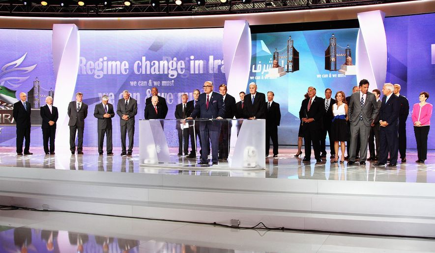 Left to right: James Woolsey, Phillip crowley, Wesley Martin, George casey, James conway, Kenneth blackwell, Michael Mukasey, John bolton, Louis Freeh, Tom ridge, Thomas cantwell, howard dean, rudy Giuliani, hugh shelton, elaine chao, Marc Ginsberg, ed rendell, chuck Wald, Francis Townsend, Lincoln bloomfield Jr., bill richardson, raymond Tanter, robert Torricelli, and Linda chavez. credit: Moussa Mohebbi
