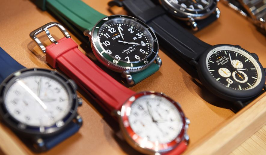 In this photo taken on Tuesday, June 9, 2015, men's watches are on display at Shinola's new location on the corner of Main St. and E. Liberty St. in downtown Ann Arbor, Mich. (Melanie Maxwell/The Ann Arbor News via AP) LOCAL TELEVISION OUT; LOCAL INTERNET OUT
