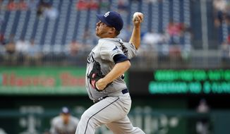 Tampa Bay Rays starting pitcher Steven Geltz (54) throws during the first inning of a baseball game against the Washington Nationals at Nationals Park, Wednesday, June 17, 2015, in Washington. (AP Photo/Alex Brandon)