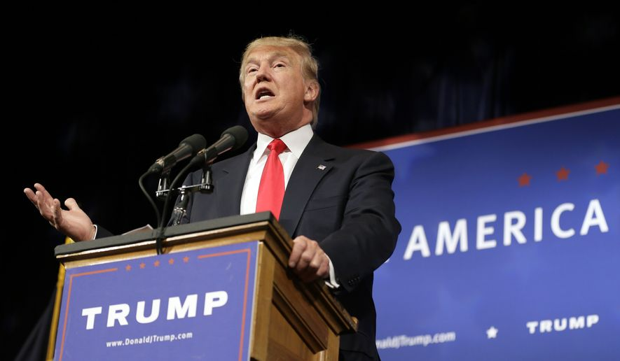 Republican presidential candidate Donald Trump speaks to supporters during a rally, Tuesday, June 16, 2015, in Des Moines, Iowa. (AP Photo/Charlie Neibergall)