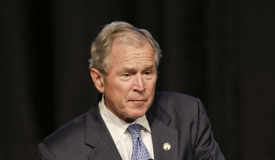 Former President George W. Bush speaks at the 74th Annual Father of the Year Awards benefit luncheon Thursday, June 18, 2015, in New York. (AP Photo/Frank Franklin II) ** FILE **