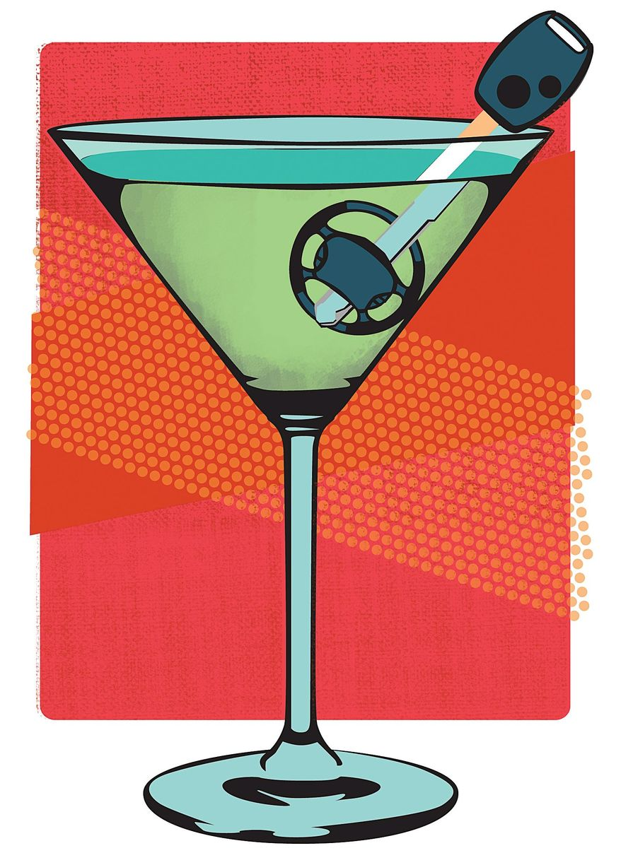 Illustration on measures to prevent drunk driving by Linas Garsys/The Washington Times
