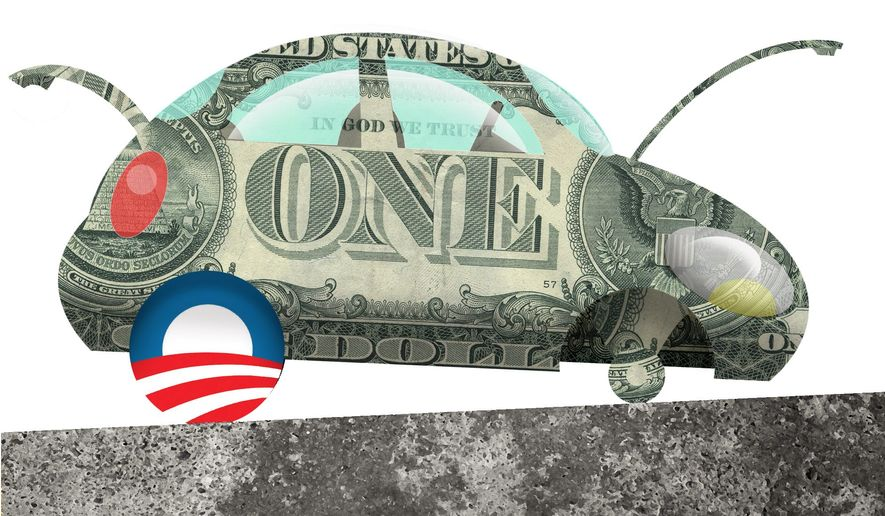 Illustration on the Obama economy by Alexander Hunter/The Washington Times