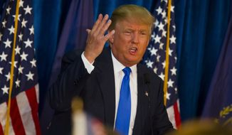 Republican presidential candidate Donald Trump speaks during a rally at Manchester Community College in Manchester, N.H., on Wednesday, June 17, 2015. Trump announced his candidacy for President  yesterday. (Elizabeth Frantz/Concord Monitor via AP)