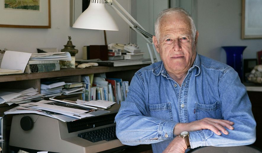 """FILE - This March 30, 2005, file photo shows author James Salter at his home in Bridgehampton, N.Y. The prize-winning author acclaimed for his sophisticated, granular prose and sobering insights in """"Light Years,"""" ''A Sport and a Pastime"""" and other fiction, has died at age 90. Salter's death was confirmed Friday, June 19, 2015, to The Associated Press by Alfred A. Knopf spokesman Paul Bogaards. (AP Photo/Ed Betz, File)"""