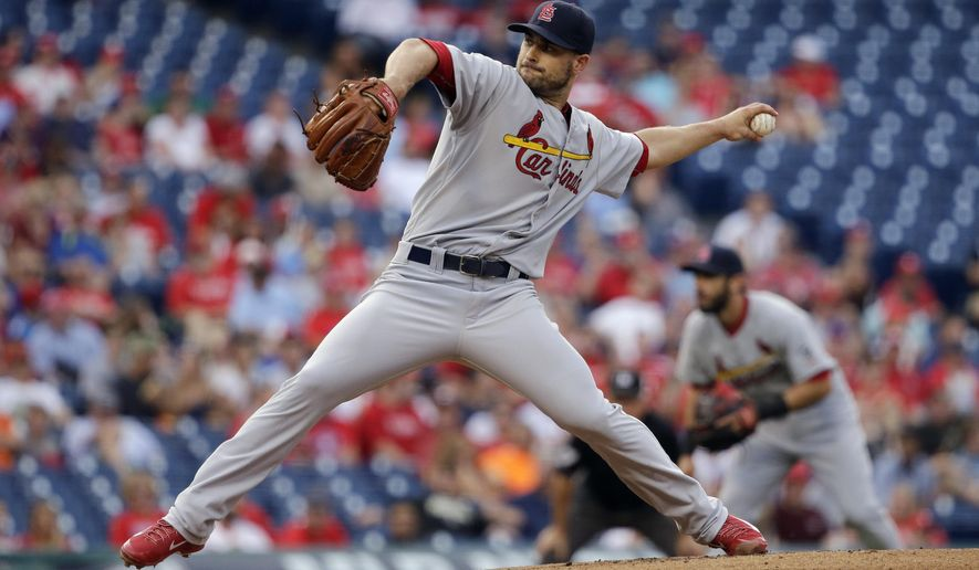 St. Louis Cardinals' Tyler Lyons pitches during the first inning of a baseball game against the Philadelphia Phillies, Friday, June 19, 2015, in Philadelphia. (AP Photo/Matt Slocum)