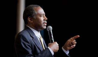 Republican presidential candidate Ben Carson speaks at the Road to Majority 2015 convention in Washington, Friday, June 19, 2015. (AP Photo/Pablo Martinez Monsivais) ** FILE **