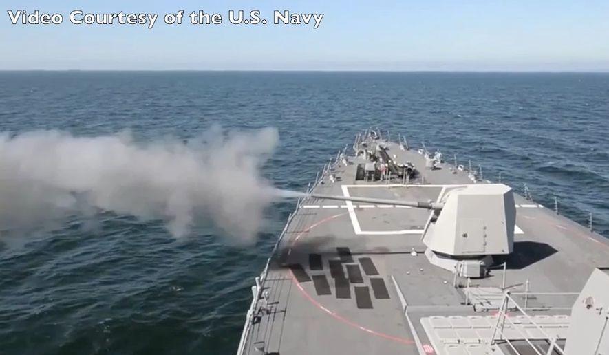 """USS Jason Dunham Firing 5"""" Gun"""
