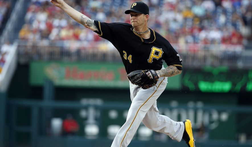 Pittsburgh Pirates starting pitcher A.J. Burnett throws during the first inning of a baseball game against the Washington Nationals, Friday, June 19, 2015, in Washington. (AP Photo/Alex Brandon)