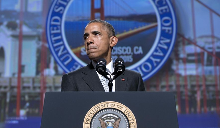 President Obama pauses as he speaks about gun violence at the Annual Meeting of the U.S. Conference of Mayors in San Francisco in this June 19, 2015, file photo. (AP Photo/Carolyn Kaster)