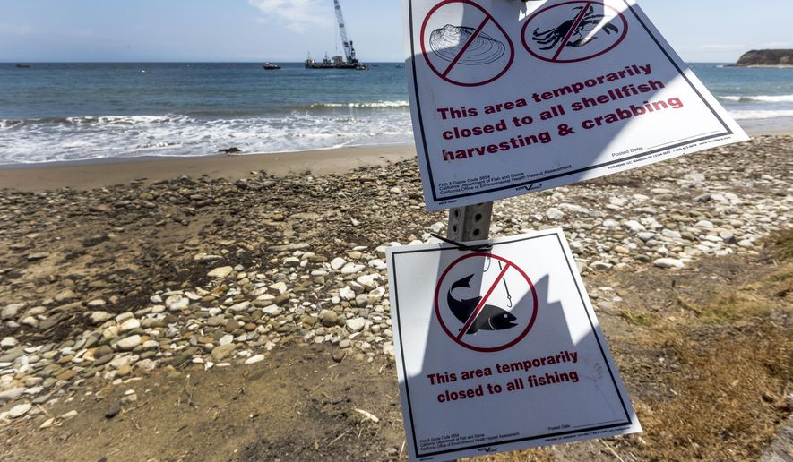 FILE - In this June 4, 2015 file photo, warning signs posted by the California Department of Fish and Game mark closed areas affected by an oil spill at Refugio State Beach, north of Goleta, Calif. Cleanup work continues one month after the May 19 oil spill north of Santa Barbara, Calif. The ruptured pipeline released up to 101,000 gallons of crude including 21,000 gallons that flowed into a storm drain and out into the Santa Barbara Channel.(AP Photo/Damian Dovarganes, File)