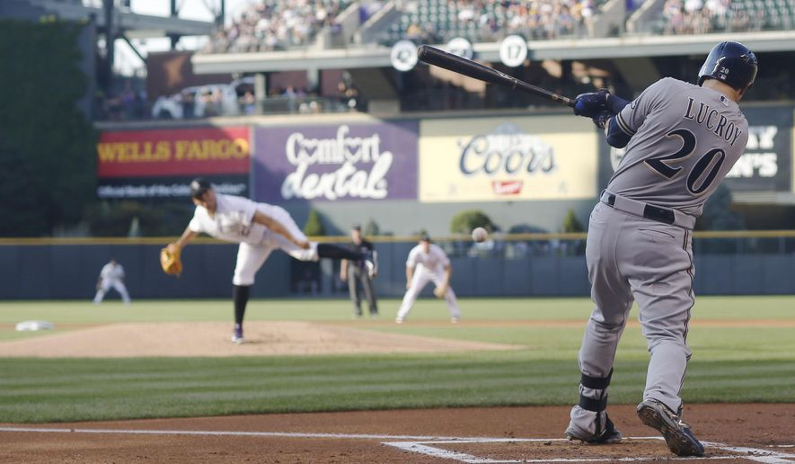 Milwaukee Brewers' Jonathan Lucroy, front, grounds out on a pitch from Colorado Rockies starting pitcher Jorge De La Rosa in the first inning of a baseball game Friday, June 19, 2015, in Denver. (AP Photo/David Zalubowski)