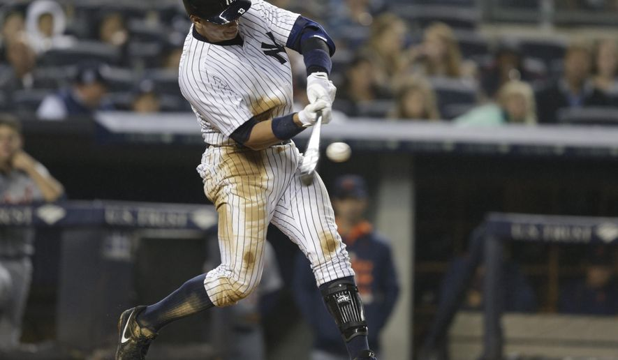 New York Yankees' Alex Rodriguez hits a three run home run during the third inning of a baseball game against the Detroit Tigers Saturday, June 20, 2015, at Yankee Stadium in New York. (AP Photo/Frank Franklin II)