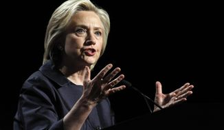 Democratic presidential candidate Hillary Rodham Clinton speaks at the U.S. Conference of Mayors 83rd Annual Meeting in San Francisco, Saturday, June 20, 2015. (AP Photo/Mathew Sumner)