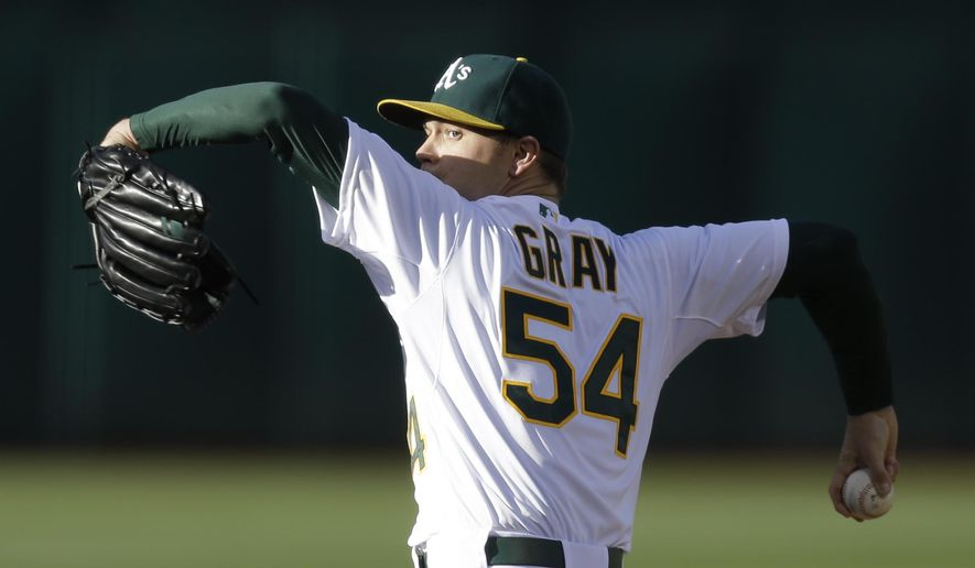 Oakland Athletics pitcher Sonny Gray works against the Los Angeles Angels in the first inning of a baseball game Friday, June 19, 2015, in Oakland, Calif. (AP Photo/Ben Margot)