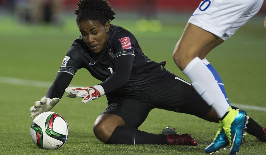 Brazil keeper Luciana makes a save against Costa Rica during the second half of a FIFA Women's World Cup soccer game in Moncton, New Brunswick, Canada, on Wednesday, June 17, 2015. (Andrew Vaughan/The Canadian Press via AP)