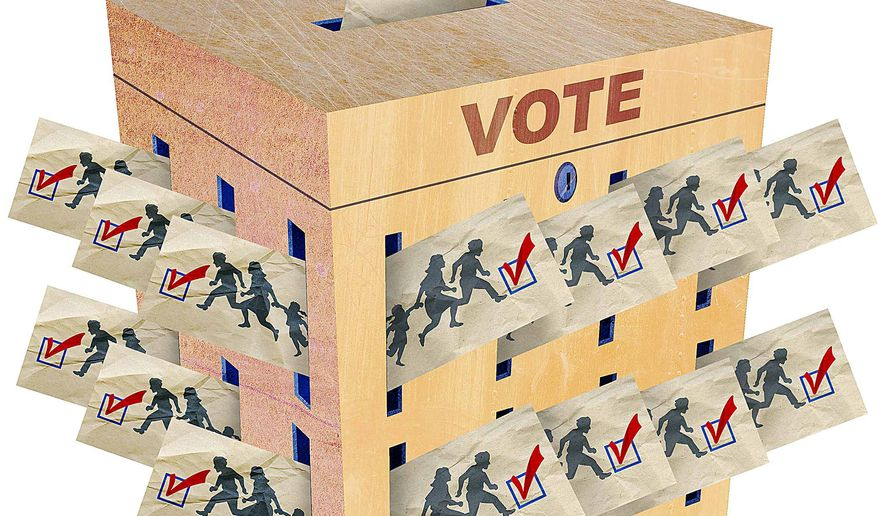 Democrats Voting Fraud for Lack of Citizenship Illustration by Greg Groesch/The Washington Times