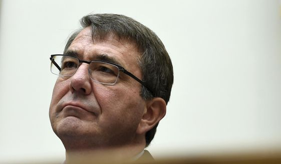 Defense Secretary Ash Carter waits to testify on Capitol Hill in Washington in this June 17, 2015, file photo. (AP Photo/Susan Walsh, File) ** FILE **