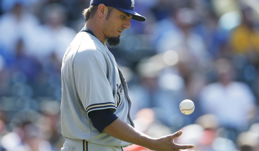 Milwaukee Brewers starting pitcher Matt Garza reacts after giving up a double to Colorado Rockies' Charlie Blackmon that brought in two runs in the sixth inning of a baseball game Sunday, June 21, 2015, in Denver. (AP Photo/David Zalubowski)