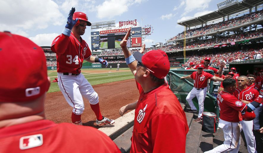 Washington Nationals' Bryce Harper (34) celebrates his two-run homer with his teammates during the first inning of a baseball game against the Pittsburgh Pirates at Nationals Park, Sunday, June 21, 2015, in Washington. (AP Photo/Alex Brandon)