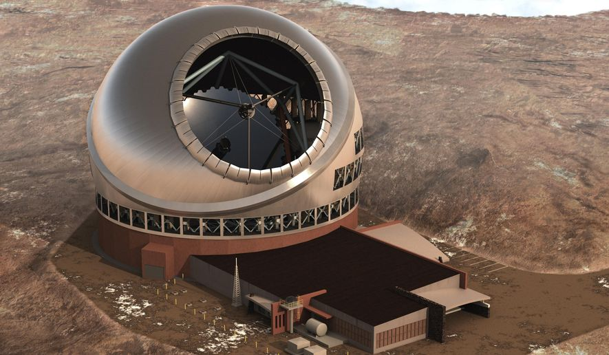 File- This 2011 file artist rendering provided by Thirty Meter Telescope, shows the Thirty Meter Telescope. The construction of a $1.4 billion telescope on land considered sacred by some Native Hawaiians will resume Wednesday, June 24, 2015, according to the nonprofit company behind the project. (AP Photo/Thirty Meter Telescope, File)