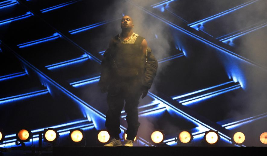 FILE - In this Sunday, May 17, 2015 file photo, Kanye West performs at the Billboard Music Awards at the MGM Grand Garden Arena in Las Vegas. On on Saturday night, June 20, 2015, West capped a show filled with other hip-hop stars from Drake, Nicki Minaj and Future at Atlanta's Hot 107.9's Birthday Bash 20.   (Photo by Chris Pizzello/Invision/AP, File)