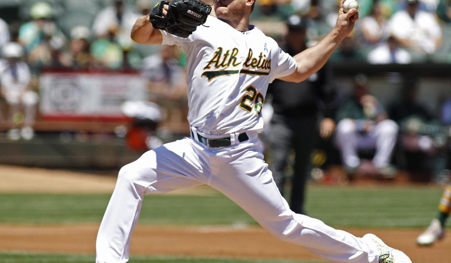Oakland Athletics pitcher Scott Kazmir throws to the Los Angeles Angels during the first inning of a baseball game, Sunday, June 21, 2015, in Oakland, Calif.  (AP Photo/George Nikitin)