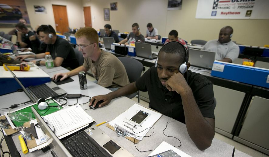 In this Thursday, June 18, 2015 photo, Spc. Yahshem Hicks, right, and Spc. Anthony Young take part in a computer training class at Fort Hood, Texas. The men are participants in Shifting Gears, a program sponsored by General Motors that teaches automotive skills and tries to match participants with dealerships around the country. Fort Hood is now offering four workforce-training programs designed to help transitioning soldiers get the skills and the connections they need to find permanent, full-time employment in civilian jobs. (Deborah Cannon/Austin American-Statesman via AP)  AUSTIN CHRONICLE OUT, COMMUNITY IMPACT OUT, INTERNET AND TV MUST CREDIT PHOTOGRAPHER AND STATESMAN.COM, MAGS OUT