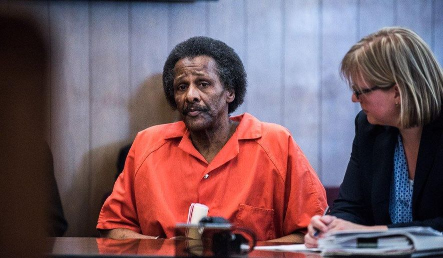 Leon Means is sentenced to life in prison without parole for the 2014 first degree murders of Judy Bushman and Anna Lawson on Monday, June 22, 2015, in Muskegon, Mich. (Mischa Lopiano/The Muskegon Chronicle via AP) MANDATORY CREDIT ALL LOCAL TV OUT AND LOCAL TV INTERNET OUT