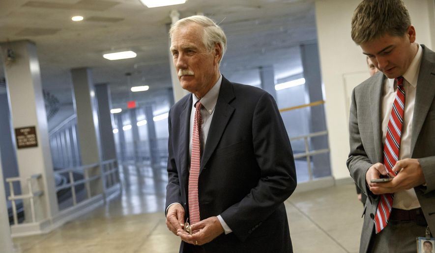 Sen. Angus King, I-Maine, heads to the Senate floor for a roll call vote at the Capitol in Washington, in this Jan. 12, 2015, file photo. (AP Photo/J. Scott Applewhite, File)