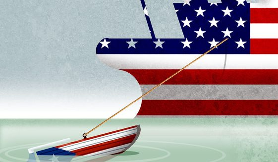 Illustration on Puerto Rico's fiscal woes by Alexander Hunter/The Washington Times